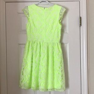 Dresses - Neon dress with lace